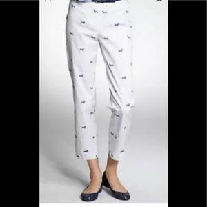 New Talbots white and blue dash hound crop pants